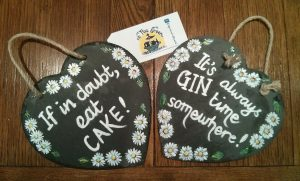 Quotation slates, canal art, handpainted