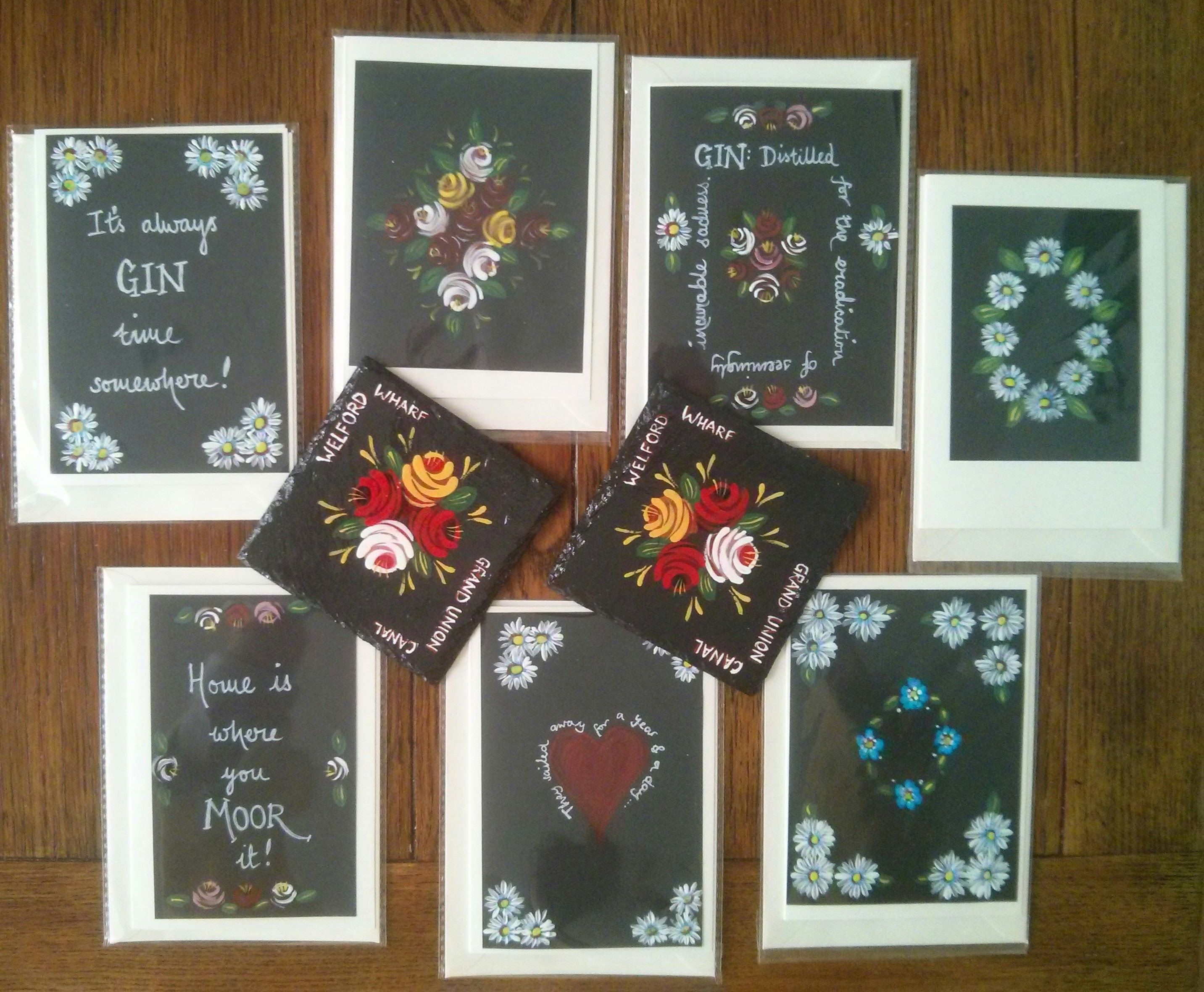 canal art, handpainted, slate coasters, greetings cards