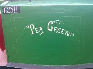 signwriting, narrowboat, pea green