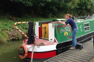 signwriting, narrowboat