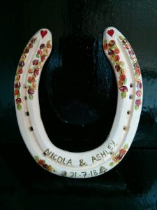 horseshoes, lucky, wedding gift, personalised, canal art, handpainted