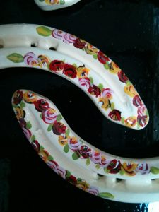 roses, horseshoes, canal art, hand-painted