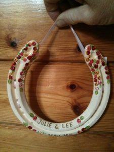 wedding, horseshoe, cream, canal art, roses
