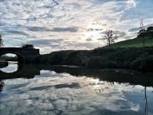 sunset, bridge 51, canal, narrowboat