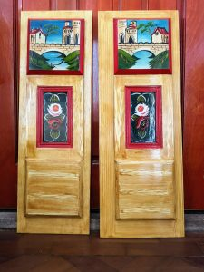 graining, door panels, narrowboat panels, hatch panels, castles, roses