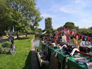 Narrowboat set up as shop